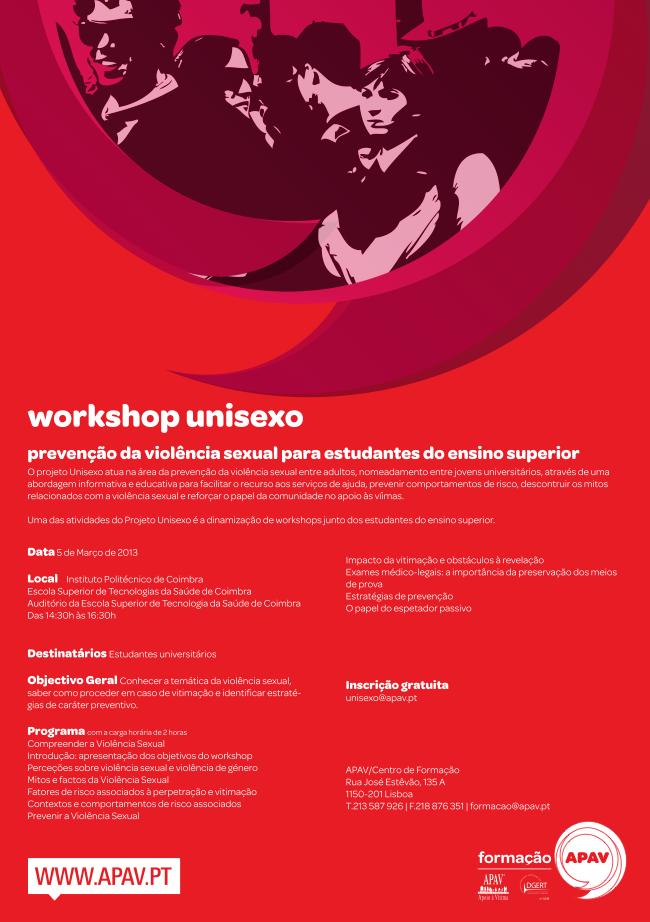 workshop unisexo preven o da viol ncia sexual no ensino superior 5 mar o. Black Bedroom Furniture Sets. Home Design Ideas